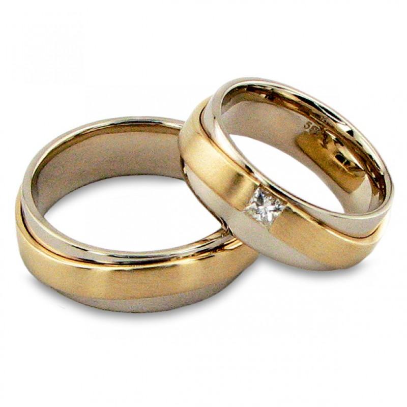 """Vestuviniai žiedai """"Pasikeitimas"""", jam ir jai, su briliantu"""