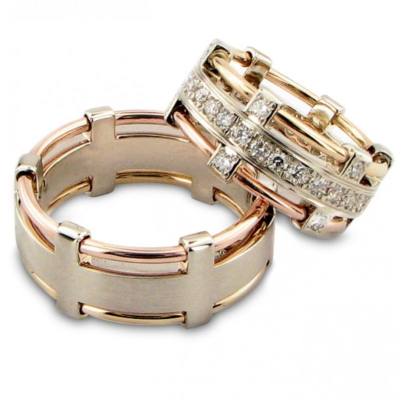 """Vestuviniai žiedai """"Karališki"""", jam ir jai, su briliantais"""